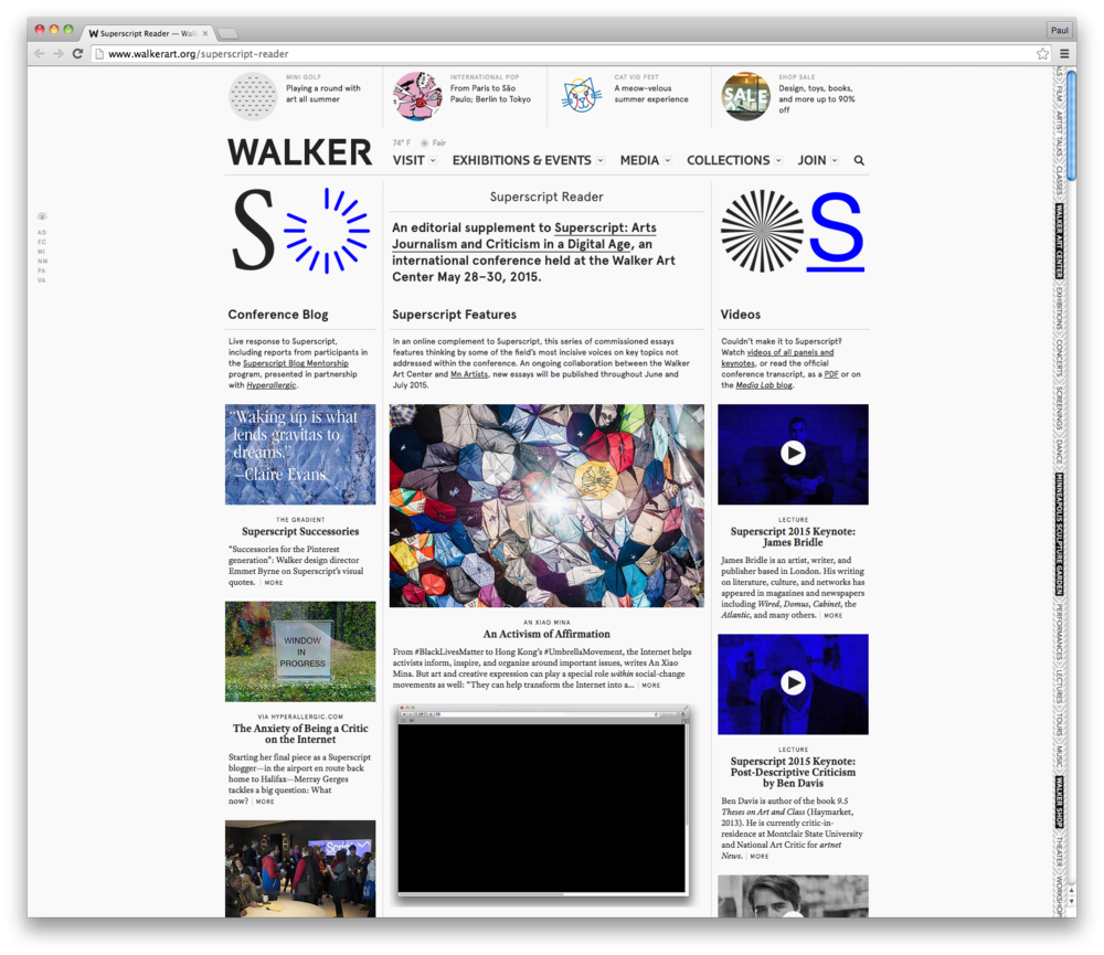 Superscript Reader, an online supplement to the in-person conference