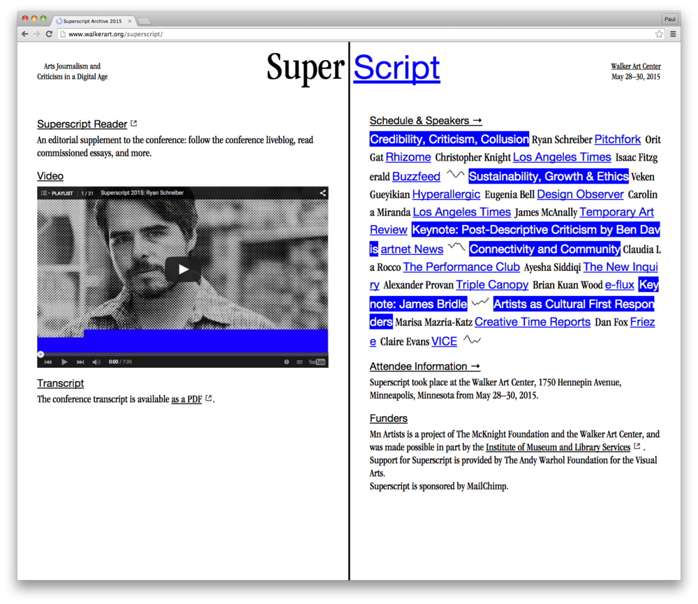 The Superscript conference website, designed by Anthony Tran