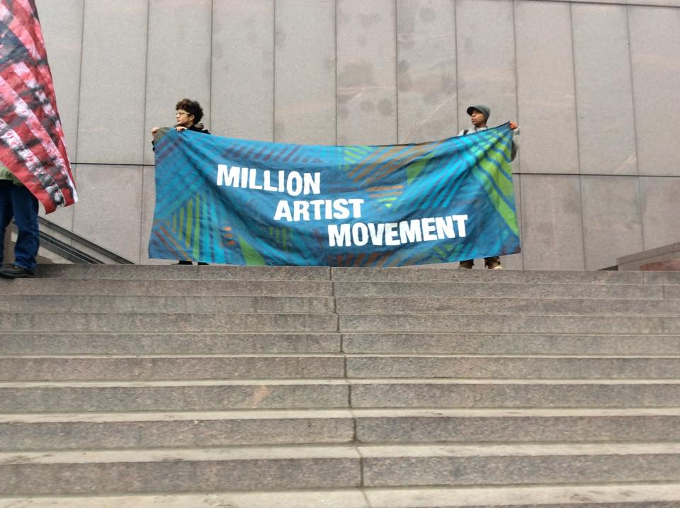 A MAKESH!T-created banner at the Million March Minnesota rally, December 2014.