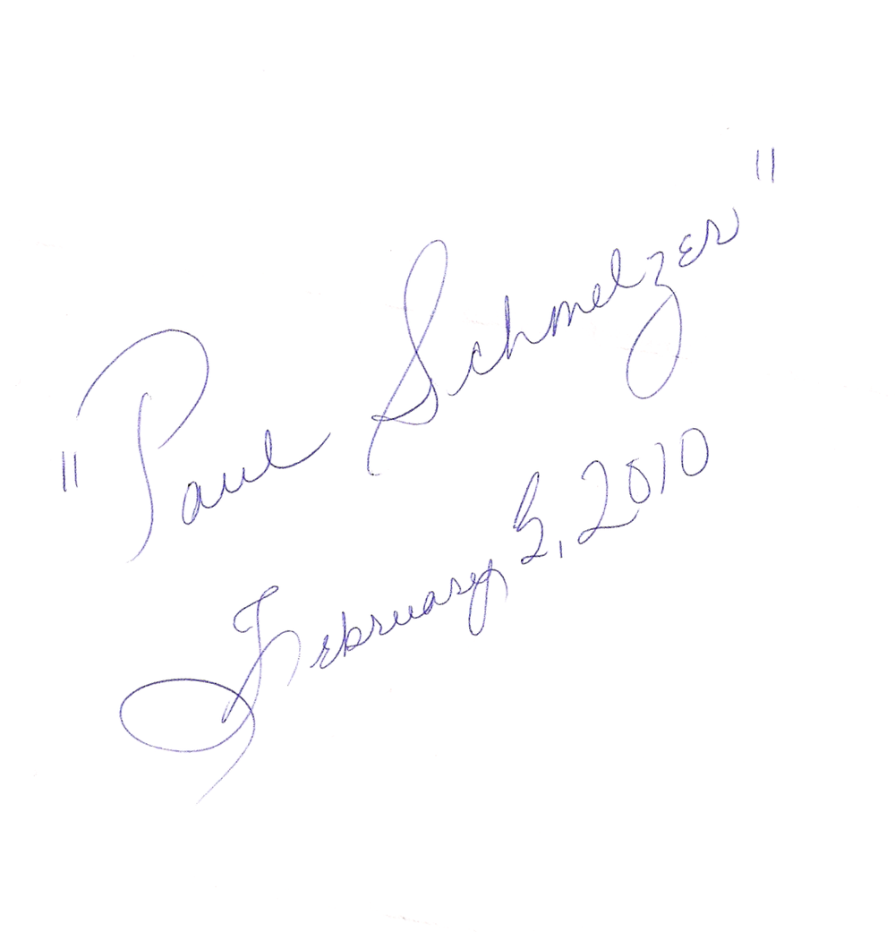 Paul Schmelzer as signed by US Rep. Michele Bachmann.