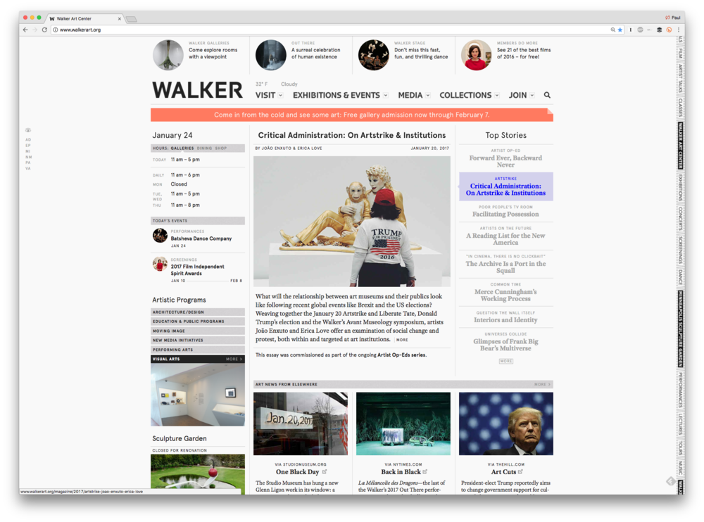 """Critical Administration"" as it appeared on the Walker homepage"