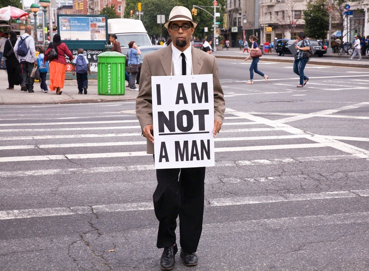 "Dread Scott, I Am Not a Man, Performance Still (68), 2009, featured in the Artist Op-Ed ""'Illegitimate': Dread Scott on the Killing of Michael Brown"""