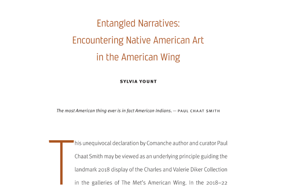 The cornerstone essay of the Art of Native America exhibition quotes Paul Chaat Smith's Walker talk.