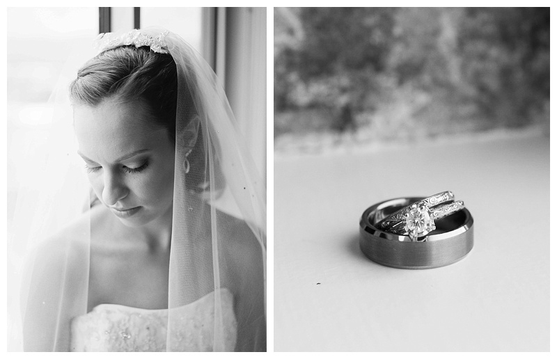 Bridal Portrait and Wedding Rings in Black and White on medium format film