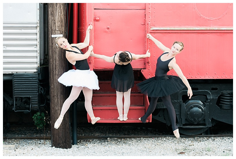 3 Ballerinas hanging from an antique train at the Chattanooga Choo Choo