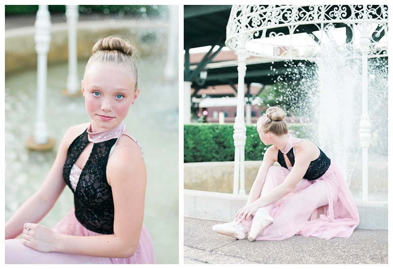 Ballerina by fountain. Pointe shoes
