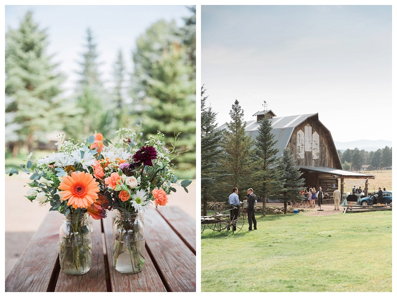 Wedding at the Barn at Evergreen Memorial Park. Orange florals by Orchid Princess Floral