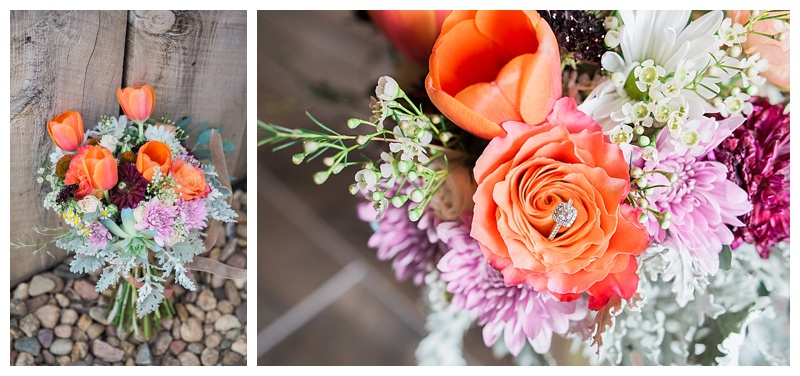 Orange bridal bouquet for late summer wedding