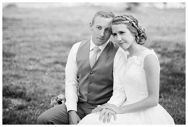 Black and white of bride and groom