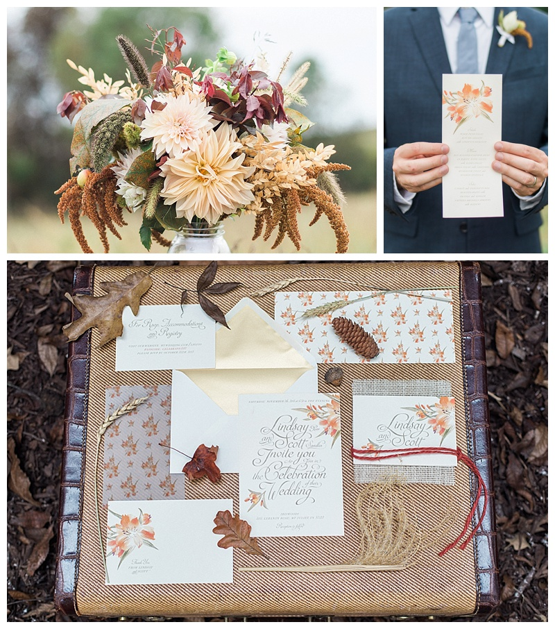 Fall-themed Wedding flowers and invitation suite
