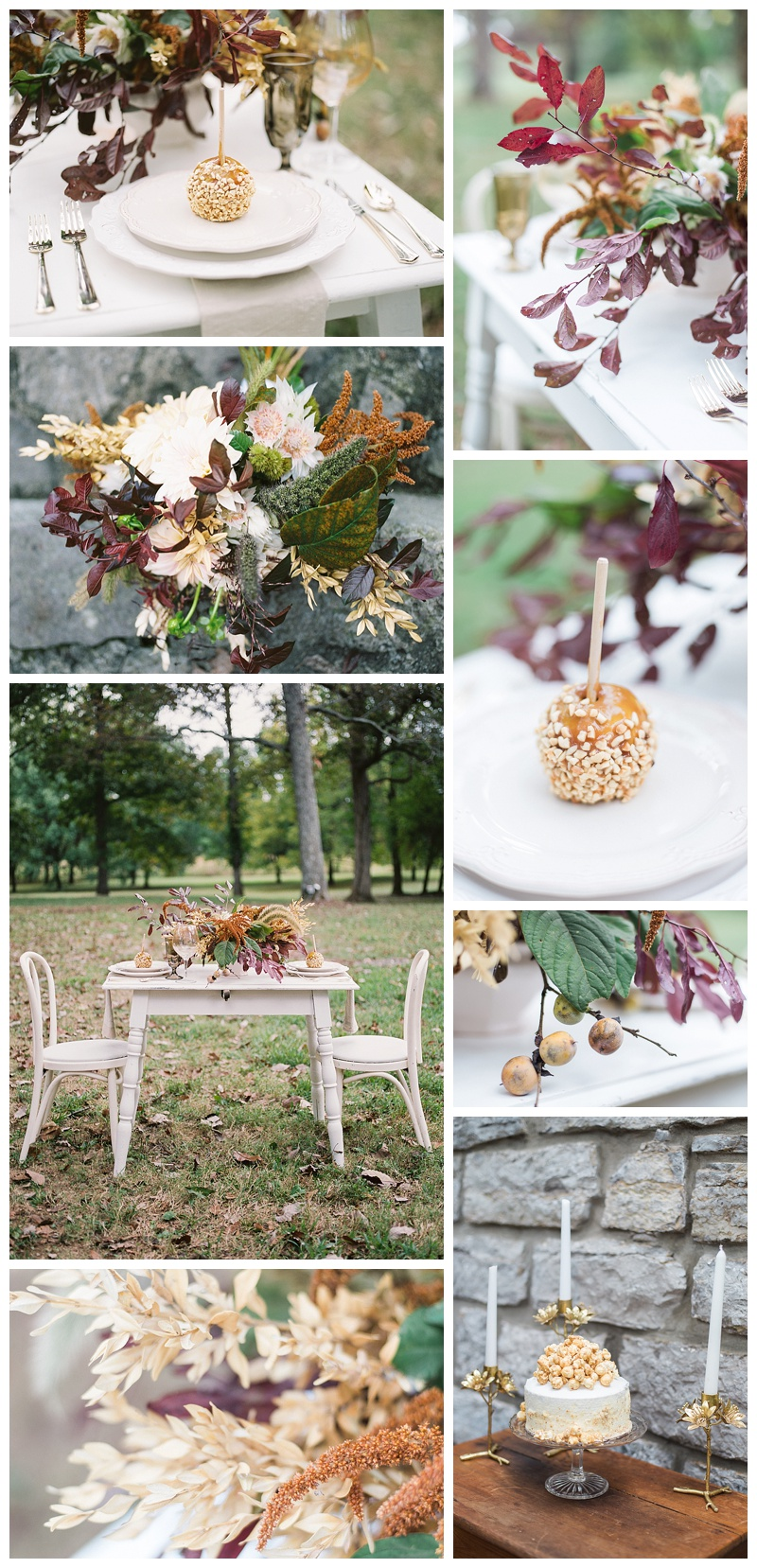 Fall-themed Wedding Caramel apples and Caramel popcorn cake