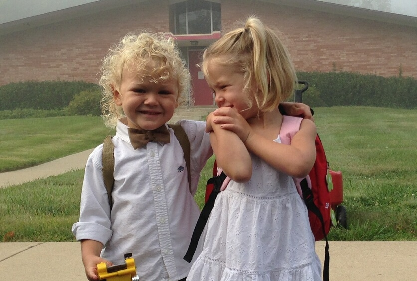 Jude and Harper first day of school.JPG