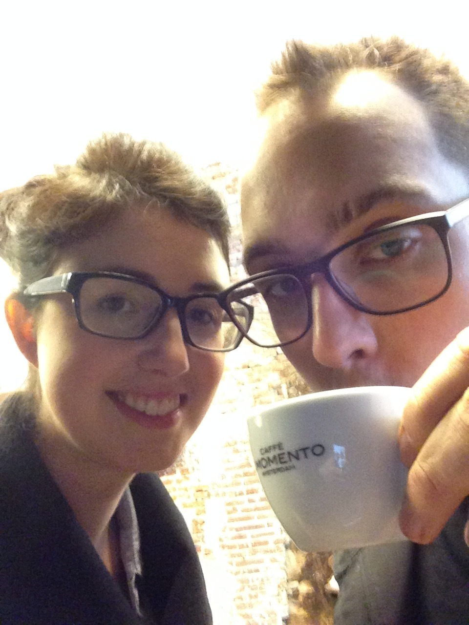 Us in Amsterdam, having coffee and looking like hipsters.