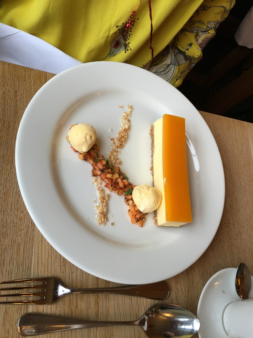 My dessert - mango cheesecake with passionfruit ice-cream and tropical fruit salsa