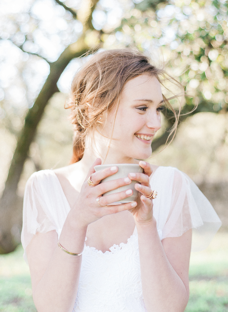 beautiful smiling bride in French Provence