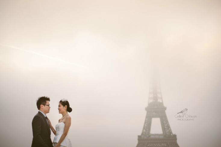 Eiffel tower in the fog