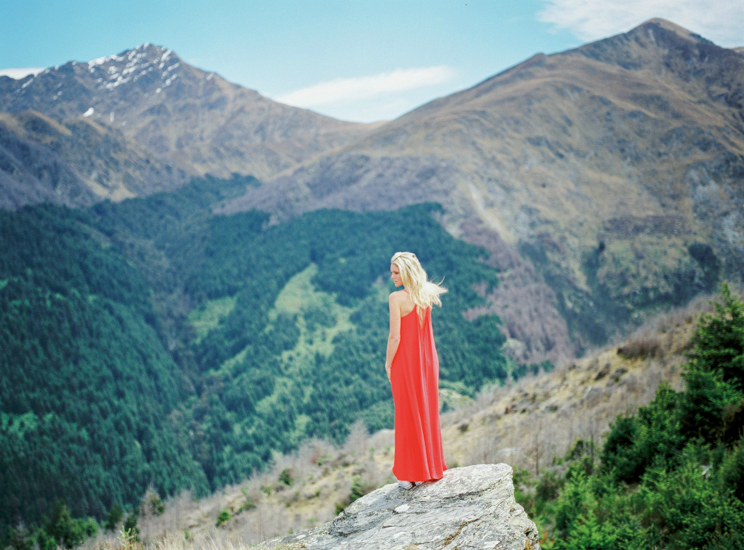 boho red dress bride in New Zealand