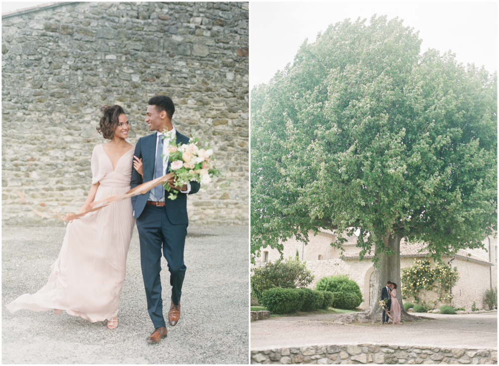 Gorgeous black bride and groom in Provence under a big tree