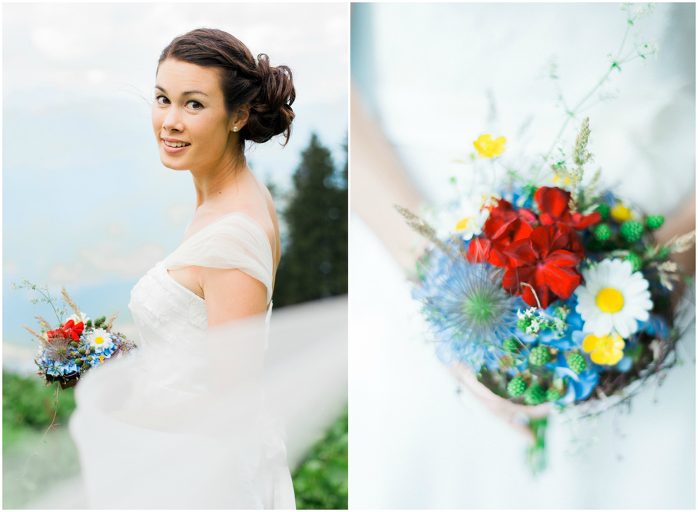 Colorful blue and red wedding bouquet