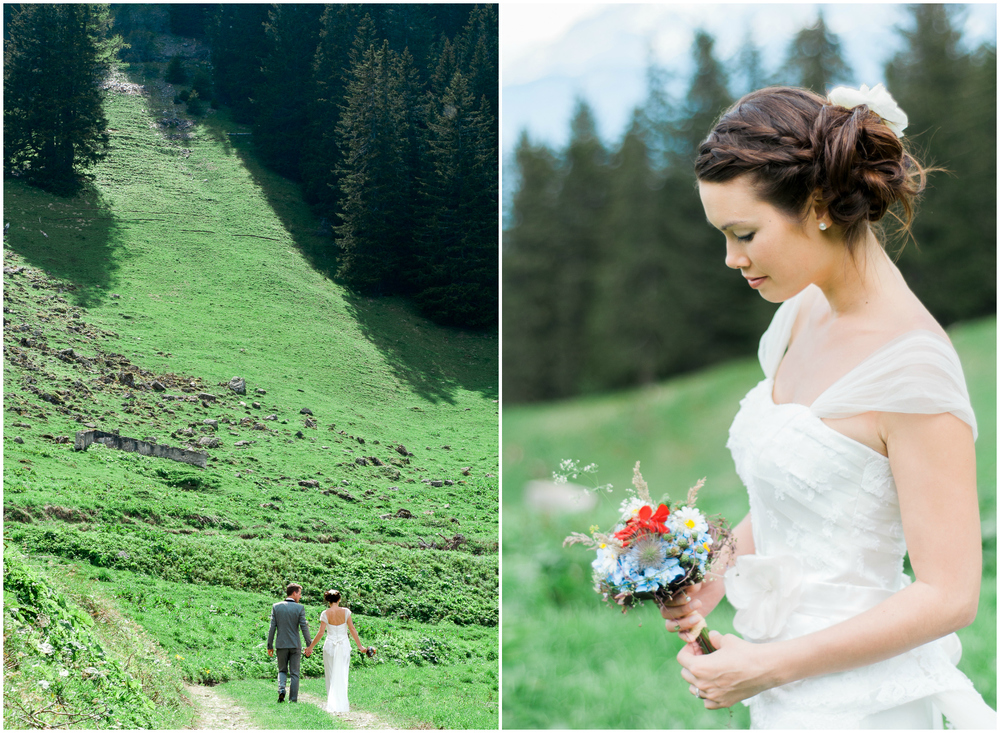 Wedding in middle of the mountains in Switzerland