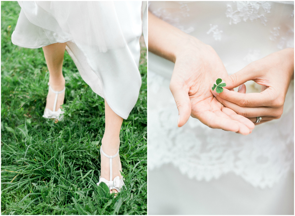 Bride with a lucky four-leaf clover