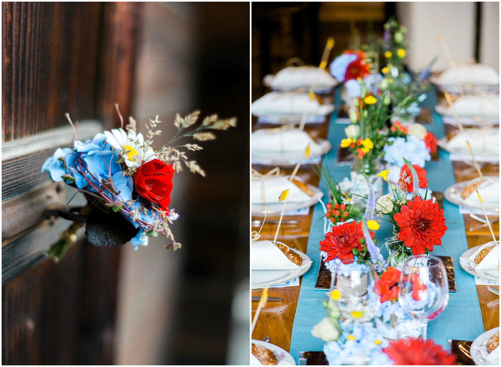 Colorful wedding table for a rustic wedding