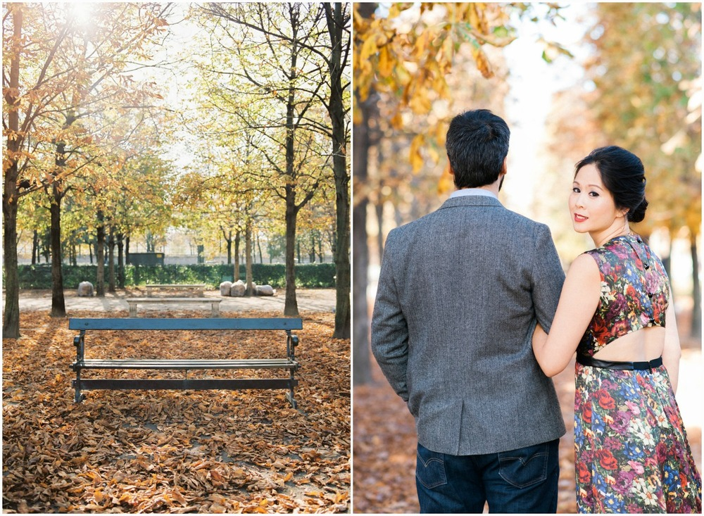 Paris engagement session in autumn with falling leaves at Tuileries Garden
