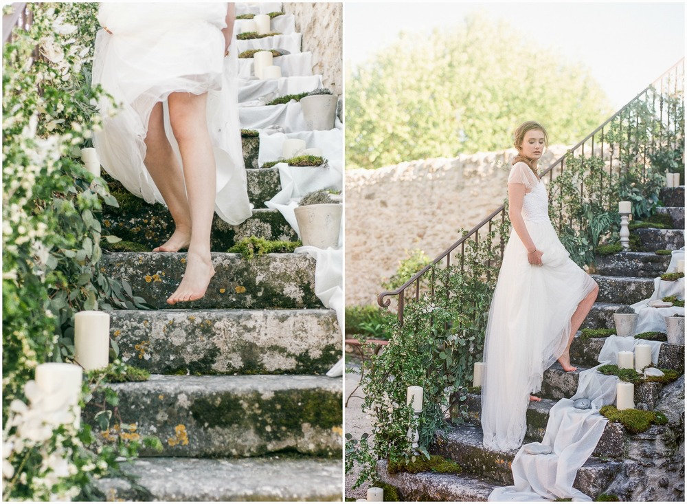 Barefoot Boho bride in Provence wearing Rime Arodaky bespoke dress