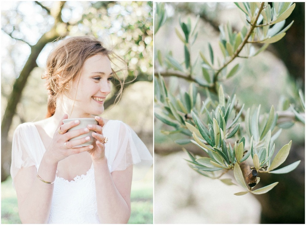 Smiling bride in Provence Olive Tree field