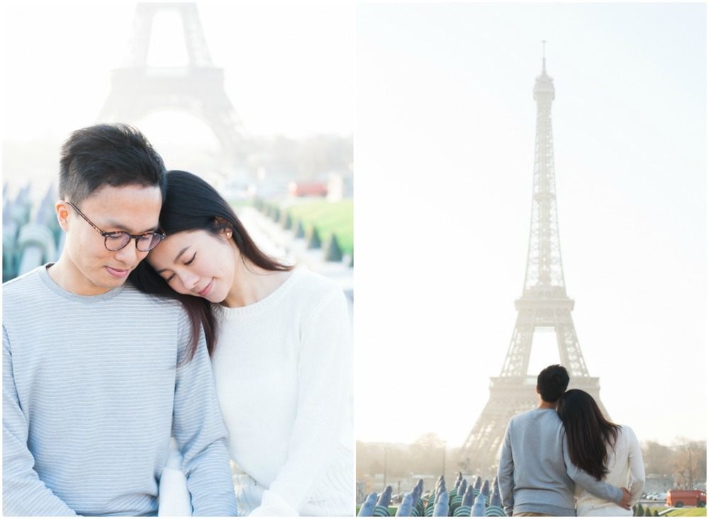 Romantic couple photos in front of the Eiffel Tower in Paris