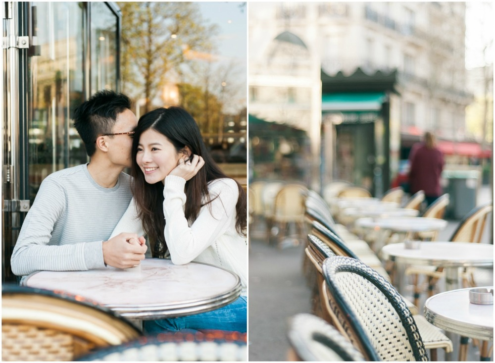 Couple sitting in a Parisian café