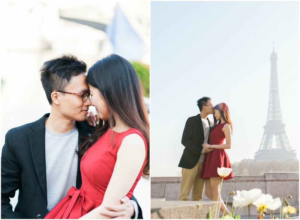 Engagement session in Paris with a cute couple in front of the Eiffel tower