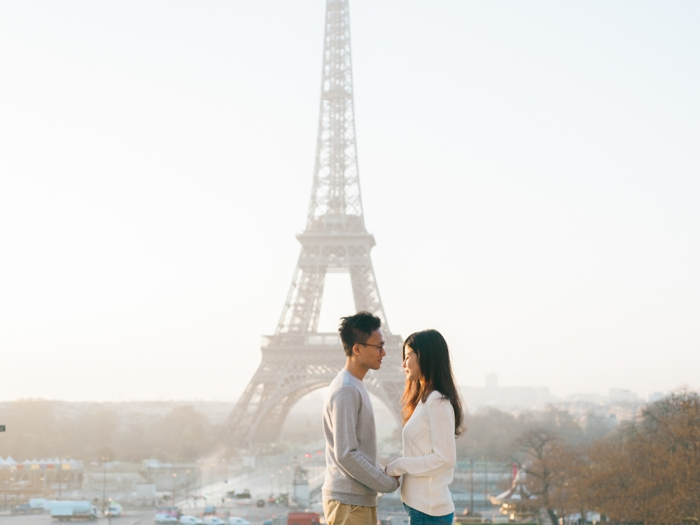 Engagement photo in front of the Eiffel Tower