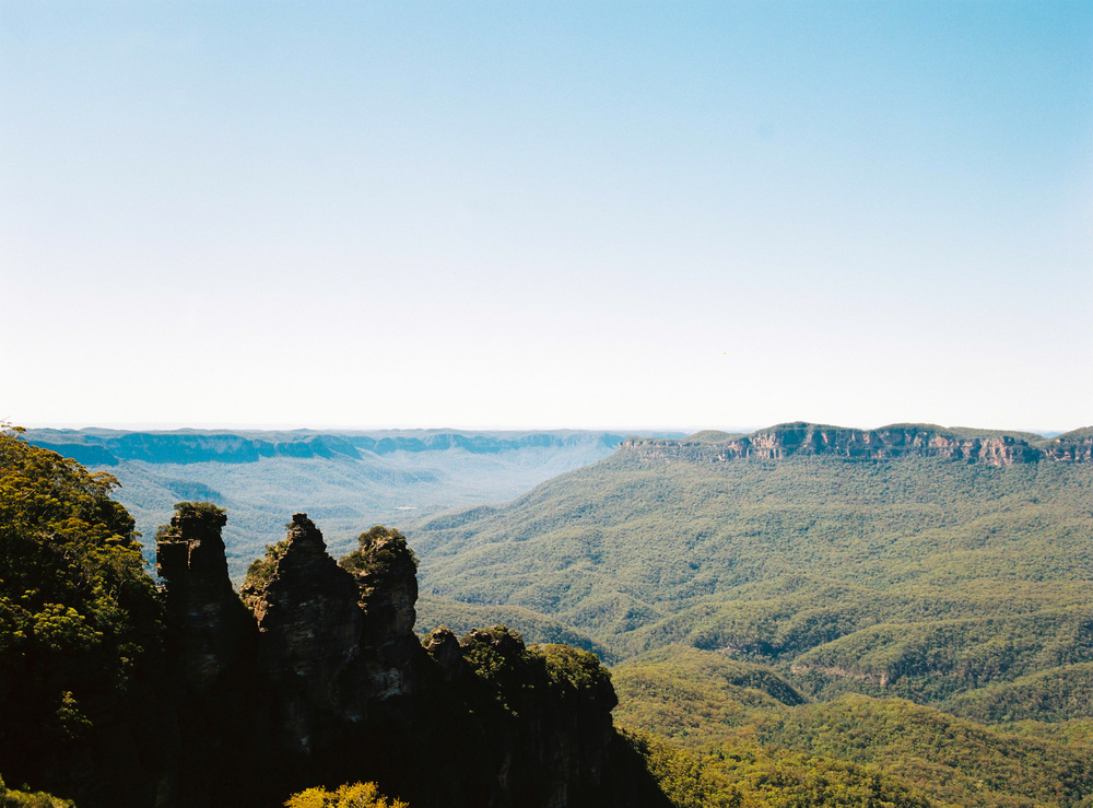 Blue hue on blue mountains in Australia