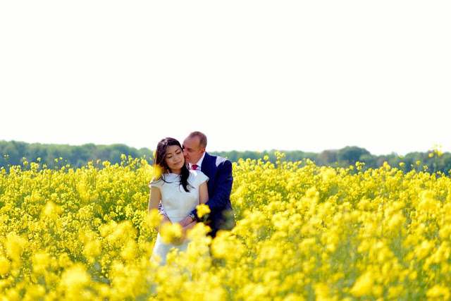 Wedding photo in fields