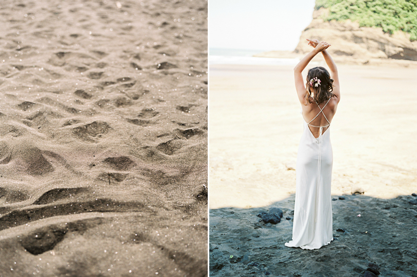 Bare back simple wedding dress for wedding beach