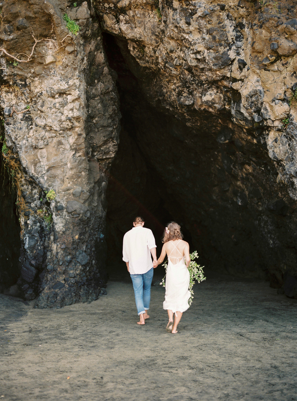 Beach cave elopement photographer
