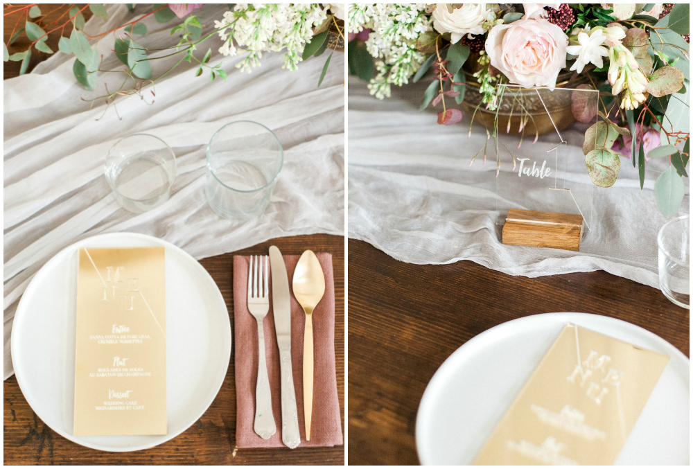 Table setting for elopement or intimate weddings in France