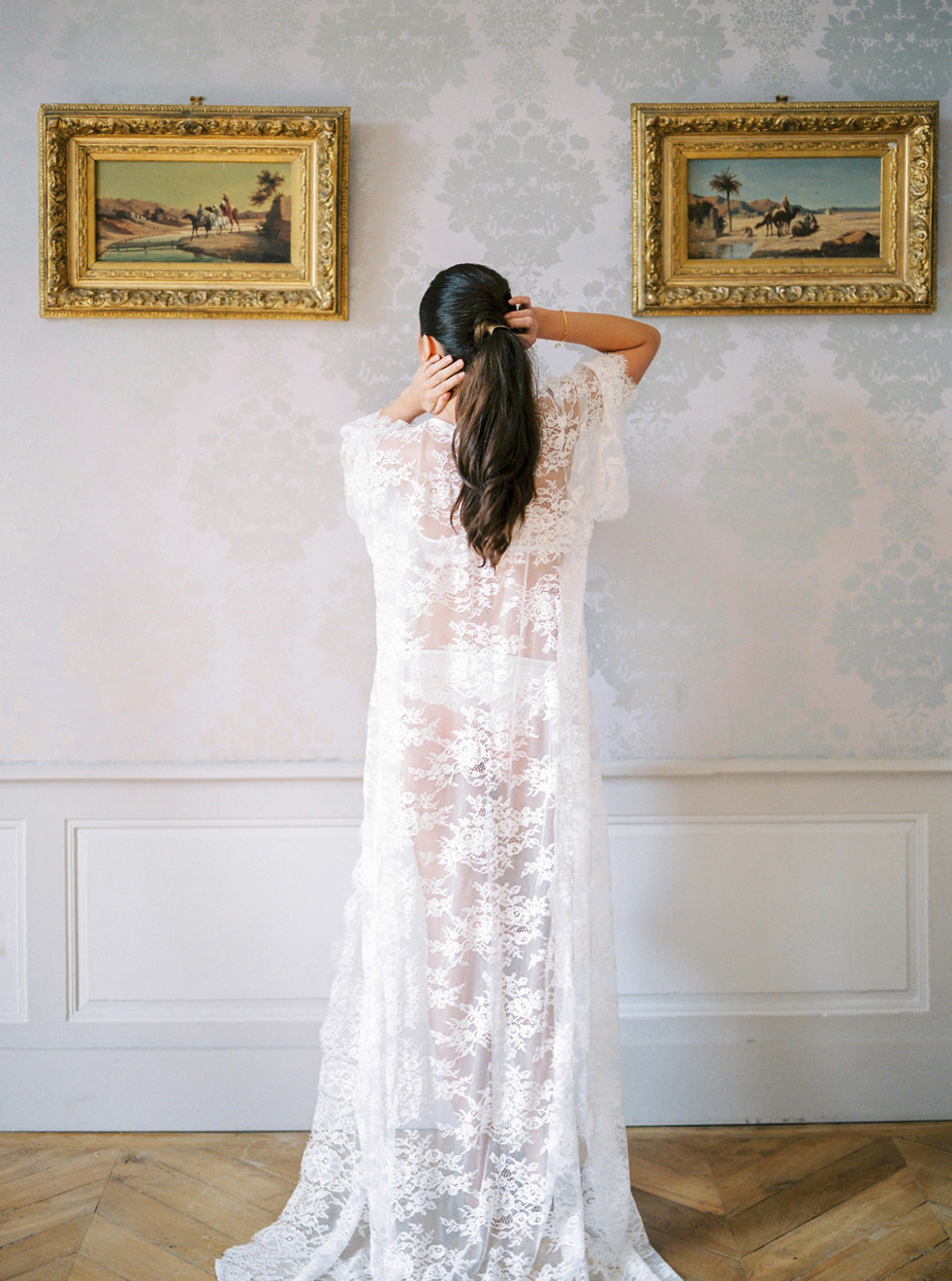Lace wedding robe