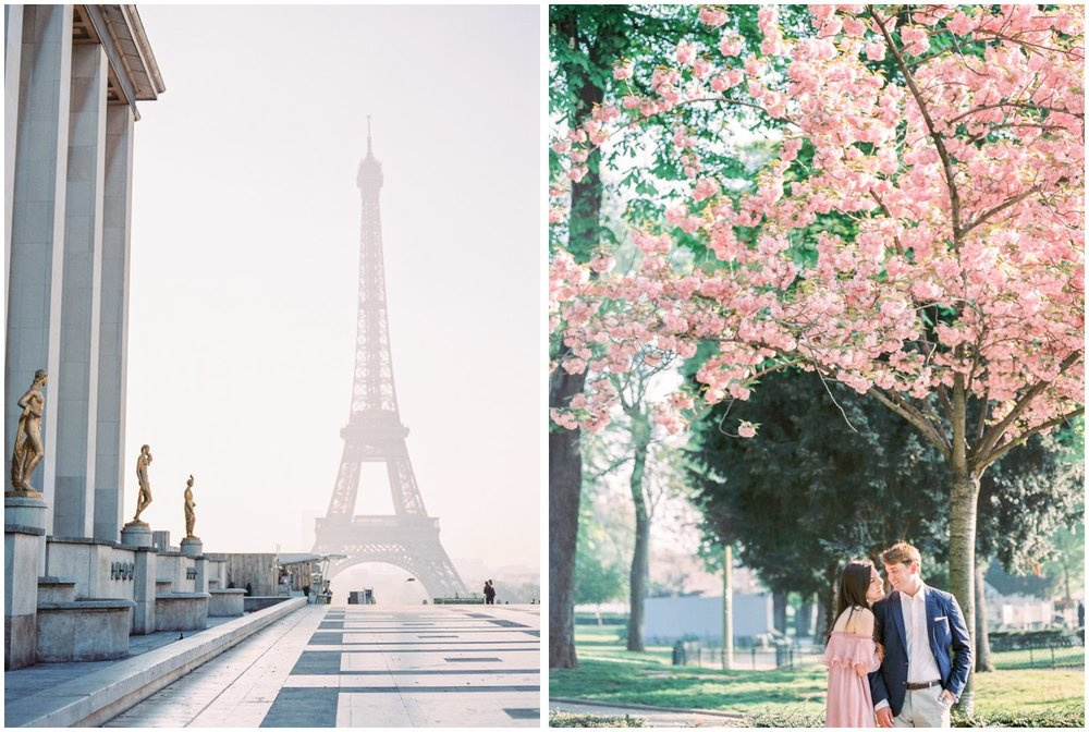 cherry blossom in Paris engagement photos