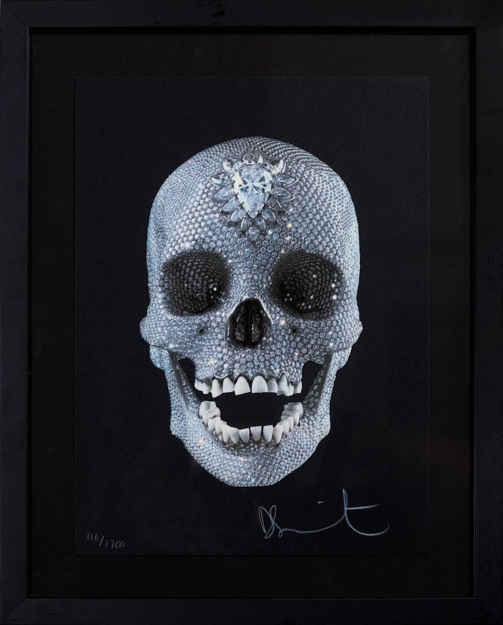 Damien Hirst, For the Love of God, believe,  2007,Siebdruck auf Papier, Glasur, 30 x 24 cm.