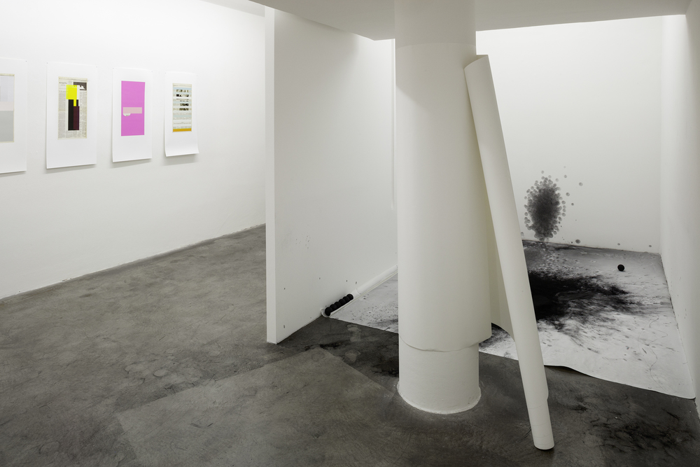 Installation view,  T  he * of Love,  Galerie Martin Janda, 2015. Left: Doug Ashford, works from the series  Next Day , 2015. Right: Polly Korbel,  Work,  2015. Foto: Markus Wörgötter.