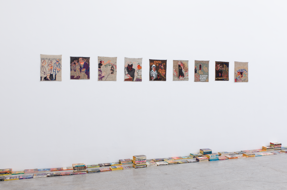 Annie-Mie Van Kerckhoven,  Untitled,  1995. Acrylpaint and marker on fabric. Post Brothers,  Memories Found in a Bathtub, or What Entropy Means to Me.  Found book collection, 2006 – 2015 (tbc). Installation view  Cartoon Physics,  Kerstin Engholm Gallery, 2015. Photo: Stefan Lux.