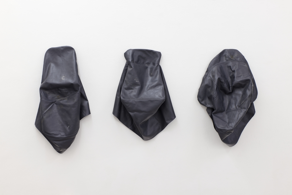 Nick Basist,  When you don't find what you're looking for, sleep,  2014. Vinyl bags. Installation view  Cartoon Physics , Kerstin Engholm Gallery, 2015. Photo: Stefan Lux.