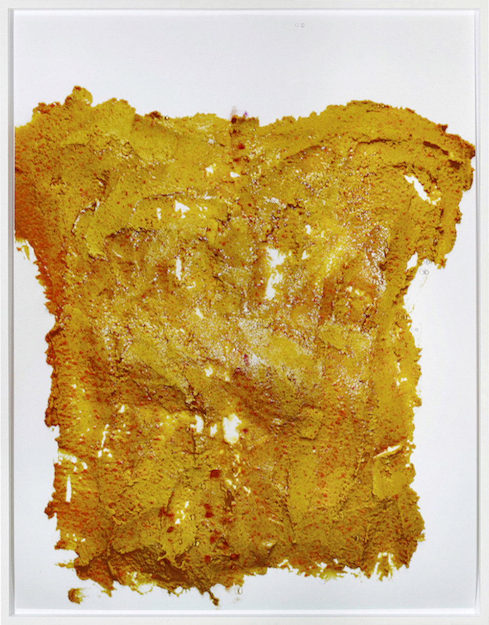 Lisa Holzer, Not yet titled, 2016, Pigment print on cotton paper, Crystal Clear 202/1 polyurethane and acrylic paint on glass, 110.3 x 86.3 cm, Courtesy: Galerie Emanuel Layr