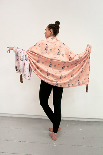 Zoe Williams. Cape Crème, 2011. Reversible hand dyed and digitally printed silk cape, with mink tail details. Approx 140 x 300 cm. Courtesy: Viktor Bucher