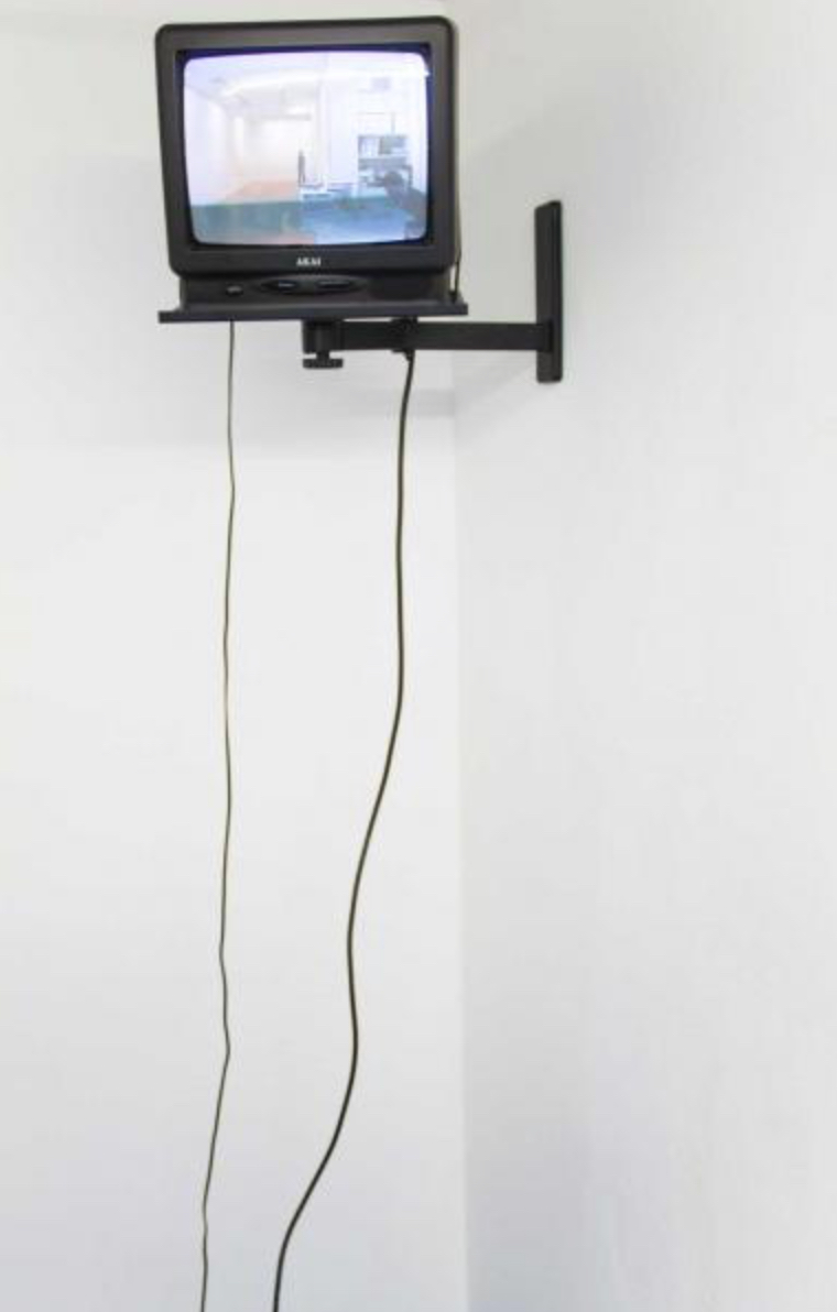 Barbara Visser, Ars Futura/Ars Futura Übung, 1994, installation, colour photograph, video loop on monitor, photograph: 100 x 100 cm, Courtesy: Unttld Contemporary