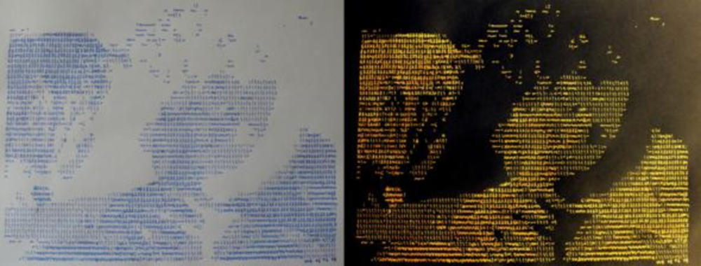 Points of View curated by_Alenka Gregoric, Vuk Cosic, Hand Job, 2009, Handwritten ASCII drawing on paper + xerox, diptych, 40 x 90 cm