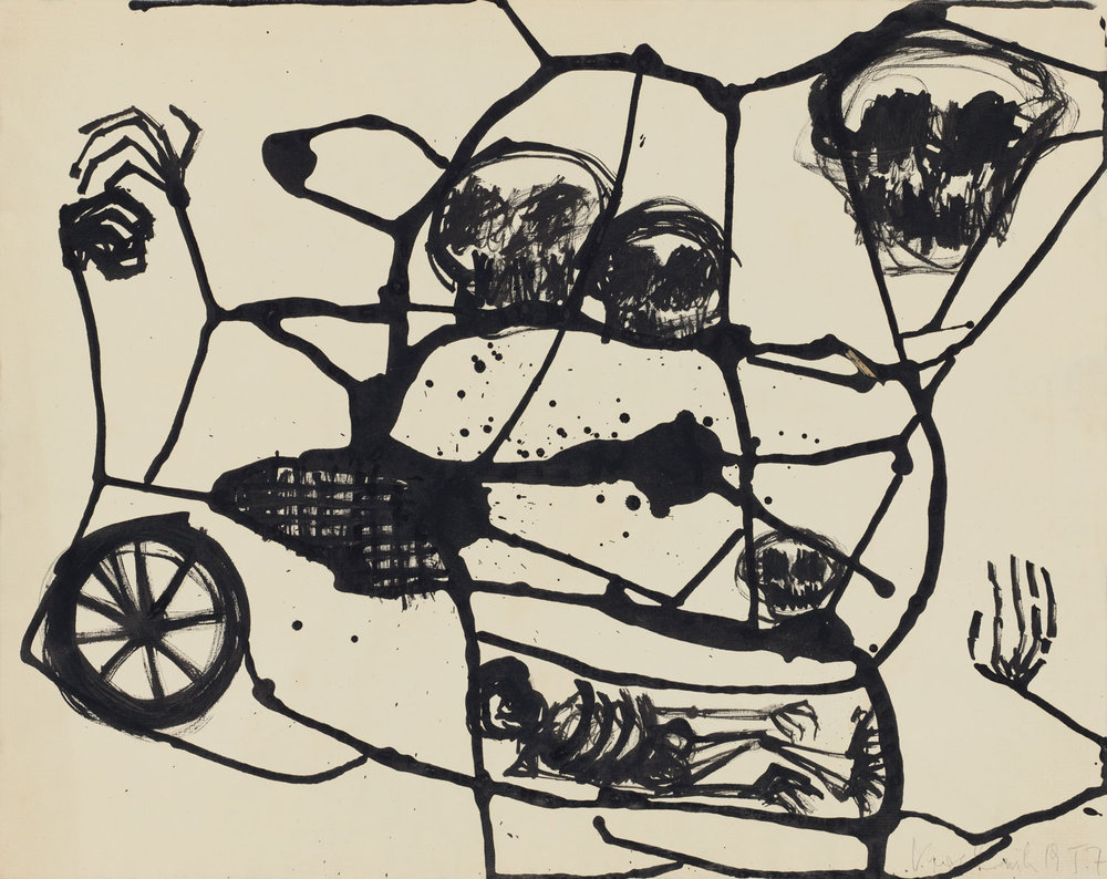 KIKI KOGELNIK  UNTITLED (SKELETON), 1957 India ink on paper 40.3 x 51 cm Courtesy Kiki Kogelnik Foundation  © 1957 Kiki Kogelnik Foundation, All Rights Reserved
