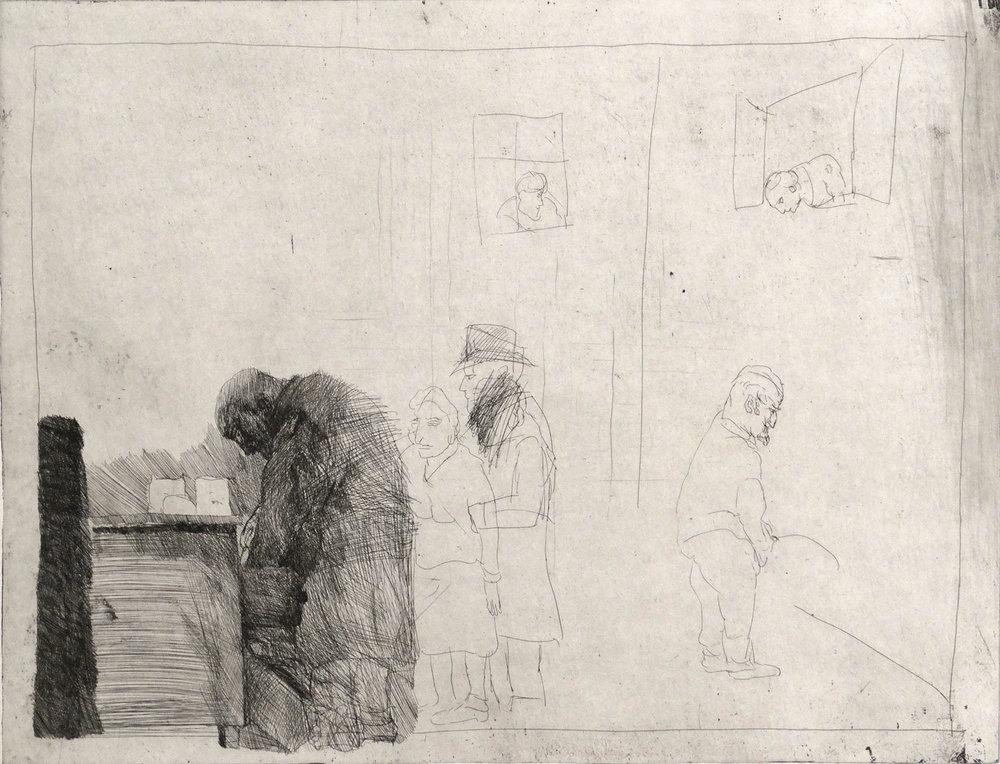 ALFRED HRDLICKA  RUDOLF LEPPMANN, GEB. 18.12.1874, WVZ 591, 1974 Radierung, 50 x 64,9 cm